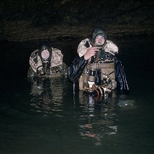 British cave divers using war surplus oxygen rebreather equipment