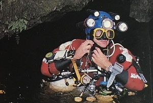 British cave diver, Geoff Crossley in the resurgence pool at Keld Head